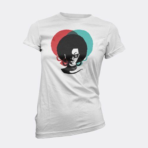 afro lady white t-shirt