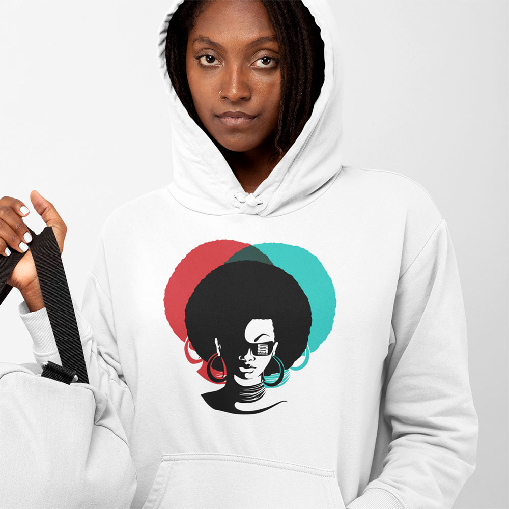 afro lady hoody