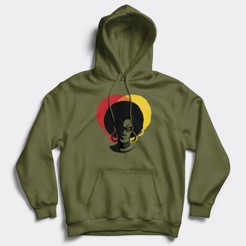 Afro lady olive green hoodie