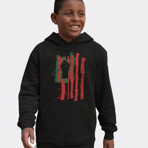 Kids Fist Flag Hoodie- Black