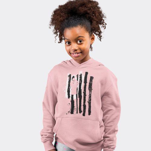 Kids Fist Flag Hoodie- Pink